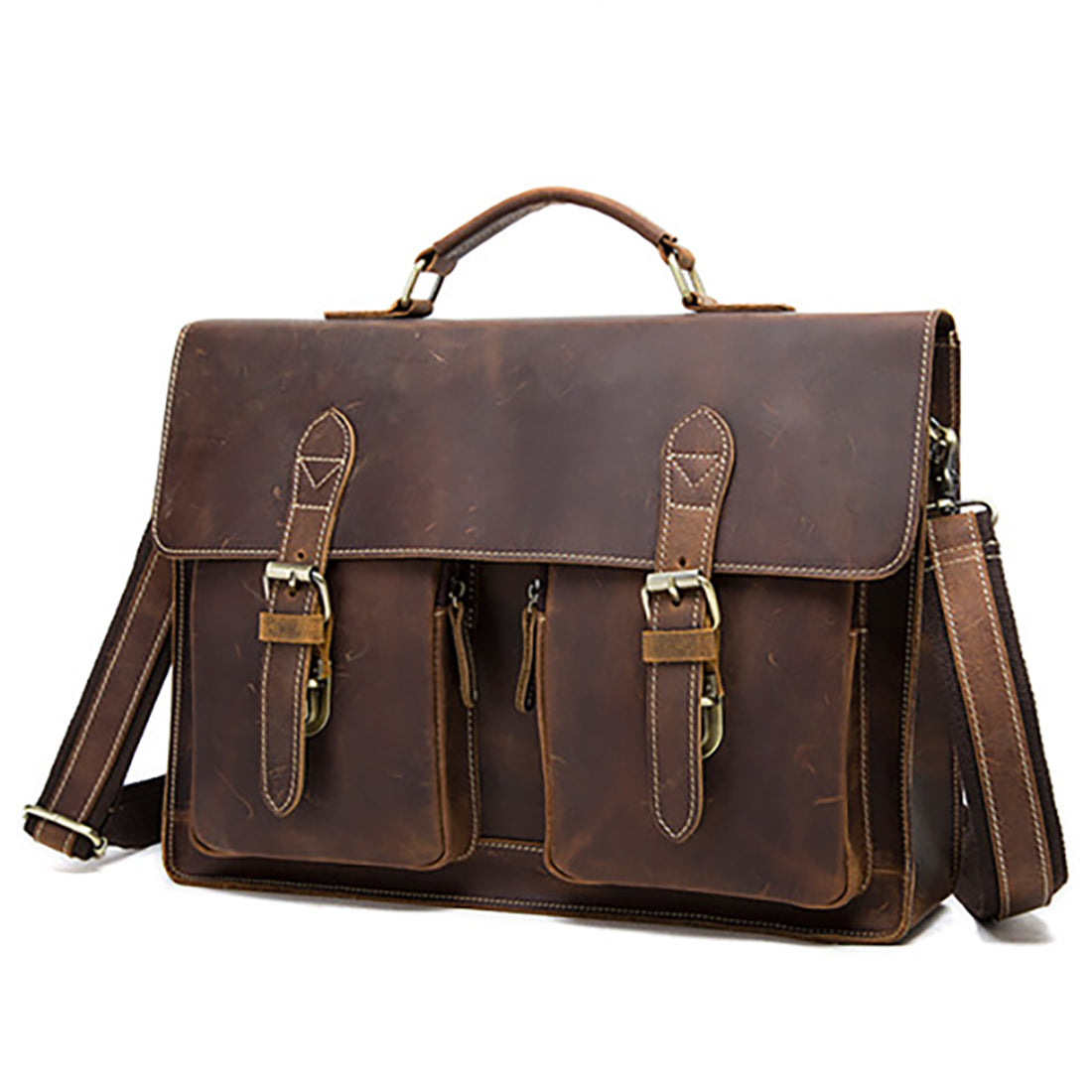 13be03c615 Men Briefcase Crazy Horse Leather Handbags Office Bags for Mens Messenger Bag  Men Laptop Bag Briefcases ...