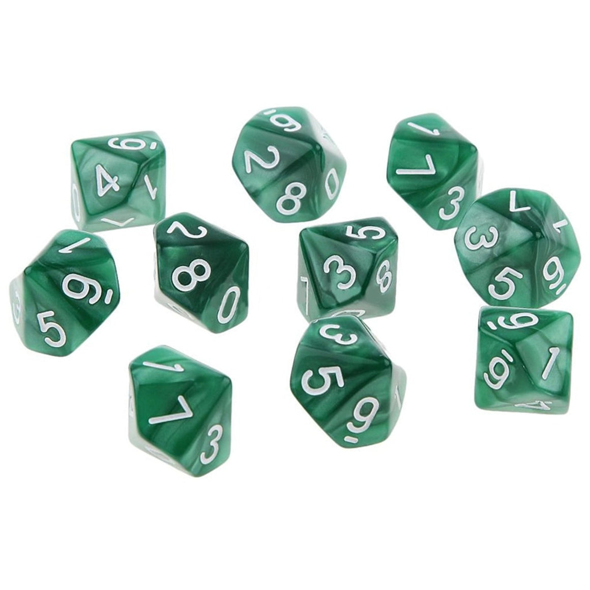 Mayitr Transparent 10Pcs D10 Ten Sided Pearl Gemmed Dices Die (0-9) forRPG For DDG Set of 10 Dice Playing Games