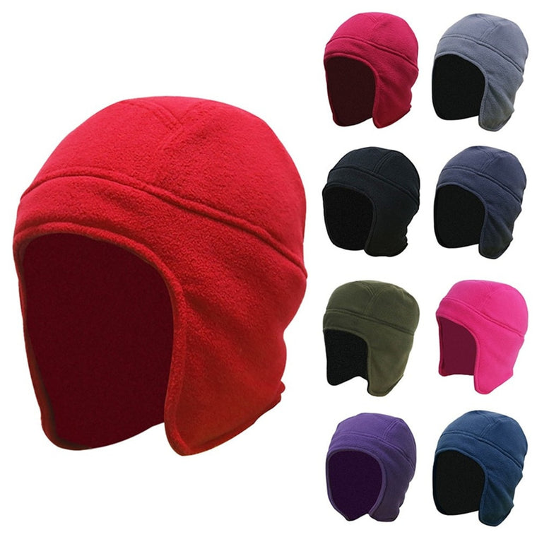 Mens Women Winter Outdoor Solid Color Fleece Earflap Hat Caps Ears Warm Hat for cycling Skiing Climbing A30