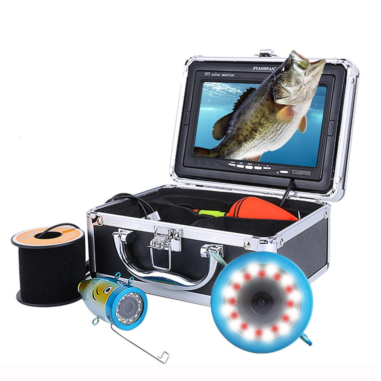"SYANSPAN Original 15/30/50M HD 1000TVL Fish Finder Underwater Ice Fishing Video Camera Kit 7"" LCD Monitor 24 Controllable LEDs"