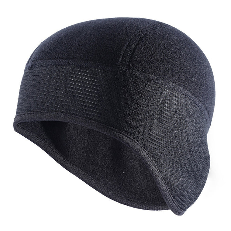 Outdoor Sports Running Cap Winter Windproof Hood Warm Composite Fleece Semi-circular Black Thickened Breathable Hat