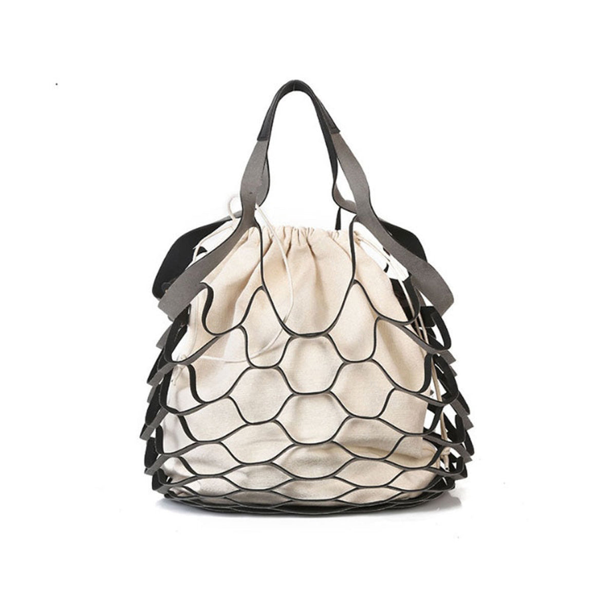 Yesello Personality Hollow Bag Beach Net Drawstring Combination Shoulder Bag  Summer Totes Hand Bags Travel Handbags INS Popular