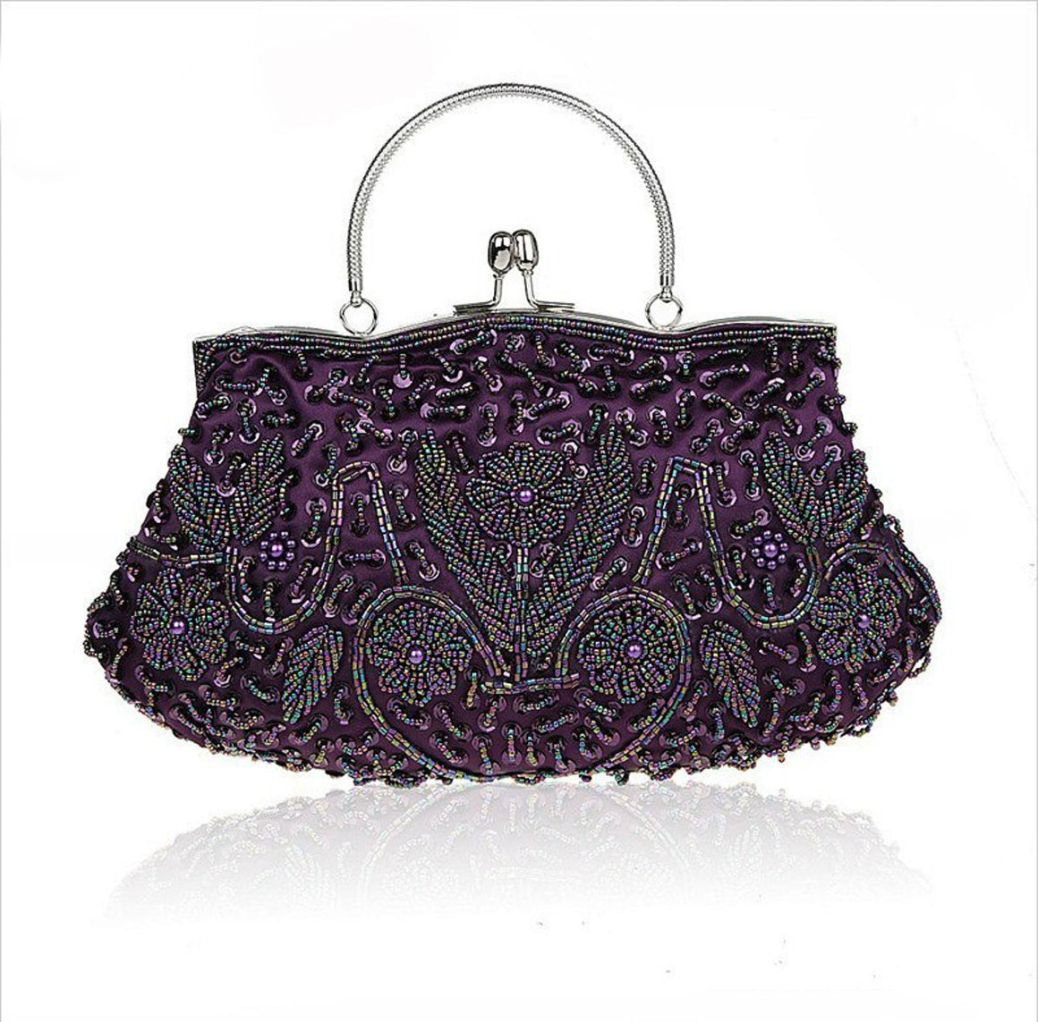 Purple Chinese Women's Beaded Sequined Wedding Evening Bag Clutch handbag Bride Party Purse Makeup Bag Free Shipping 03393-B