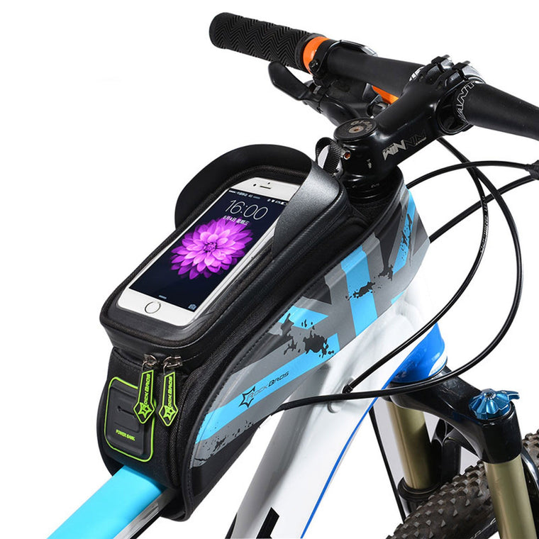 ROCKBROS MTB Road Bicycle Bike Bags Rainproof Touch Screen Cycling Top Front Tube Frame Bags 5.8/6.0 Phone Case Bike Accessories