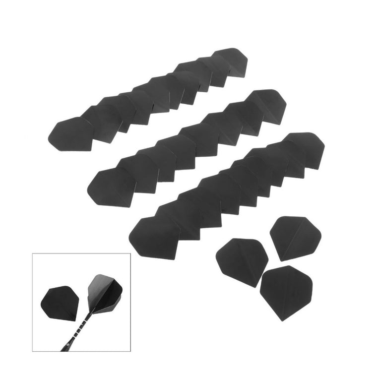 SURIEEN 30 Pcs High Quality Simple Pure Black PVC Dart Flights Fin Tail Nice Dart Flight Dart Accessories Dardos Replacements