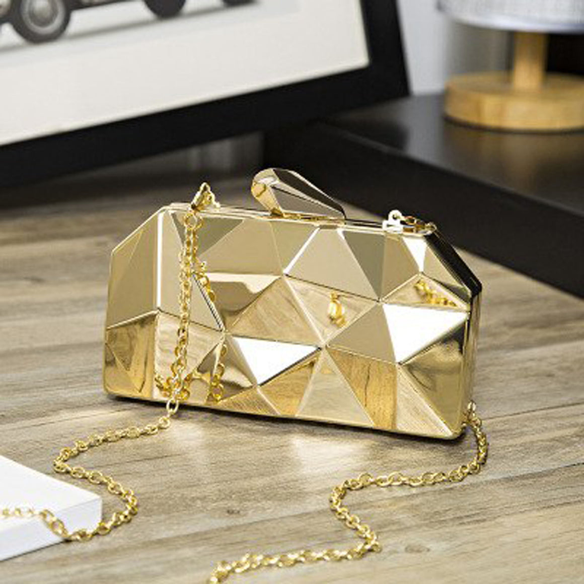 Sexy Fashion women Handbags Luxury Shiny Metal Clutch Six Angle Unique Design Evening  Bag Shoulder Crossbody Party Purses
