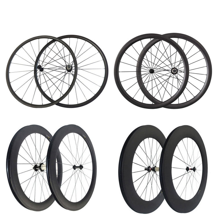 Straight pull v Brake 24mm 38mm 50mm 88mm carbon wheels clincher tubular 700c road bicycle wheelset 3k matte glossy powerway r36