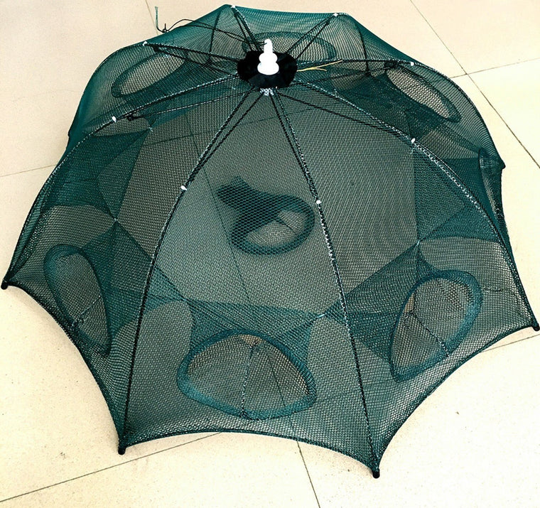Strengthened 4-20 Holes Automatic Fishing Net Shrimp Cage Nylon Foldable Crab Fish Trap Cast Net Cast Folding Fishing Network