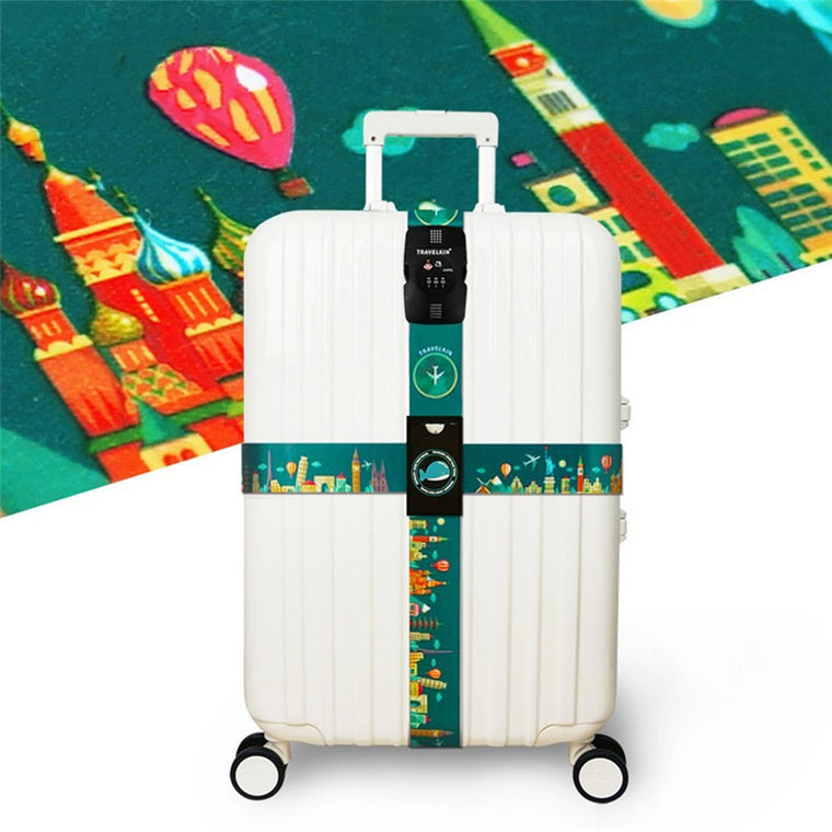 beautiful colorful rainbow mermaid scales Luggage Straps Adjustable Suitcase Belts with 3 Dial Digit Combination Travel Bag Accessories