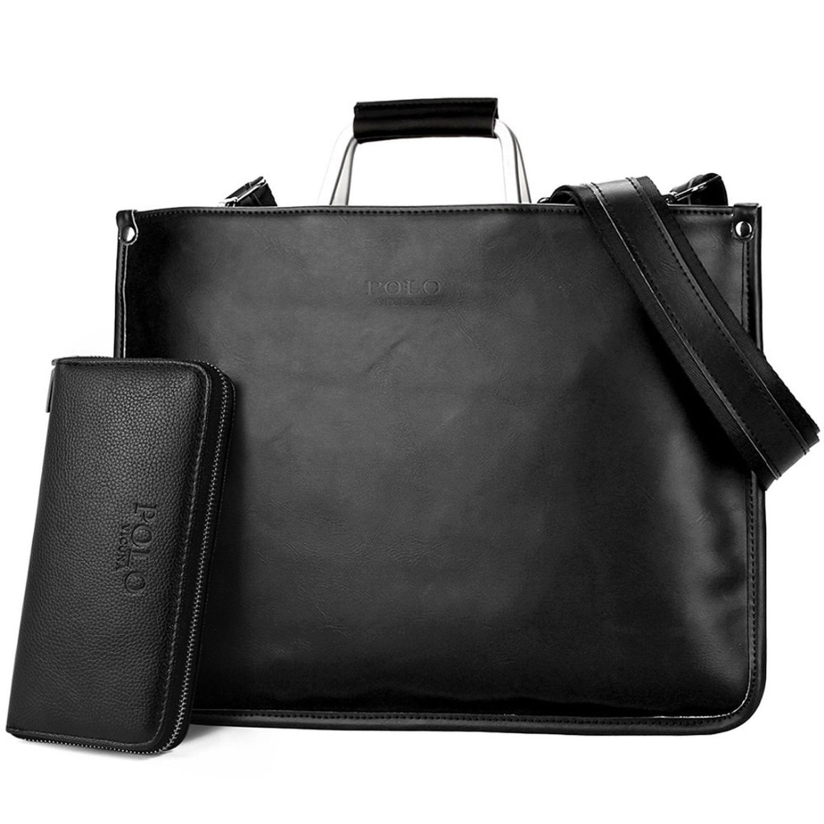 VICUNA POLO Simple Design Leather Men Briefcase With Metal Handle Business Men Document Bag Classic Office Mens Bags Men Handbag