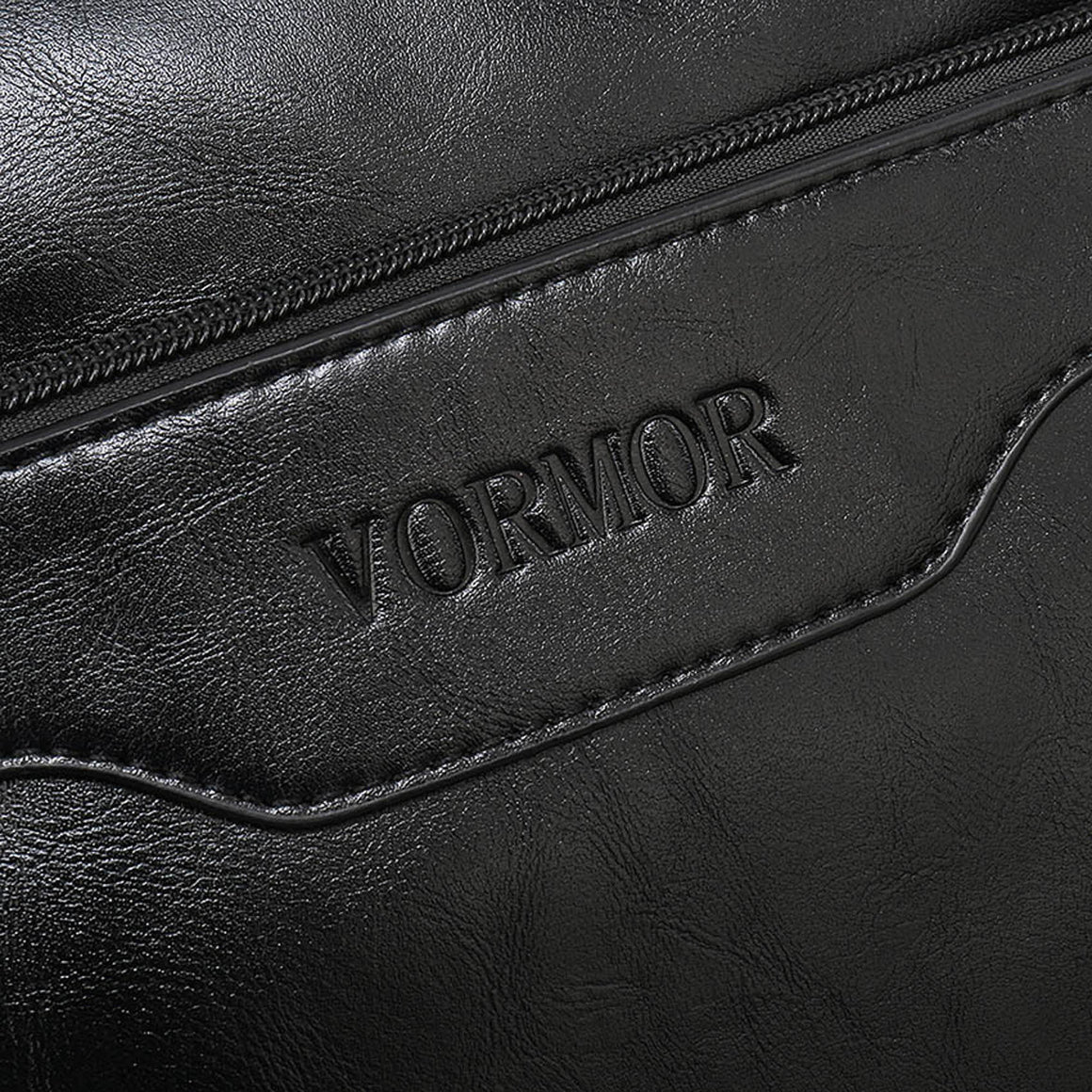 VORMOR New Leather Men's Handbag Business Men Briefcase Bag Large Capacity Shoulder Tote Bags Rivet Hollow Bottom Man Laptop Bag