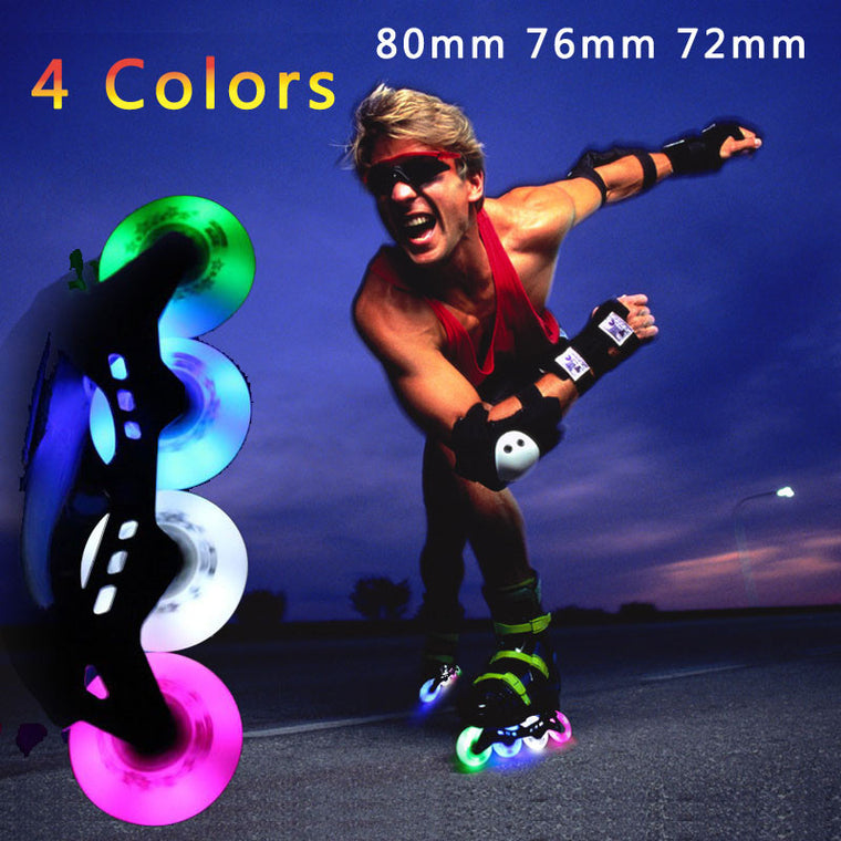 90A 72 76 80mm Skate Flash Roller Wheels Skate Slalom/Braking Roller Skating Wheel LED Light Sliding Skates Wheels