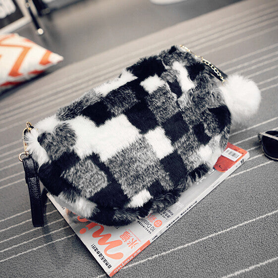 casual velour fur small handbags new fashion ladies party purse women evening clutch famous shoulder messenger crossbody bags