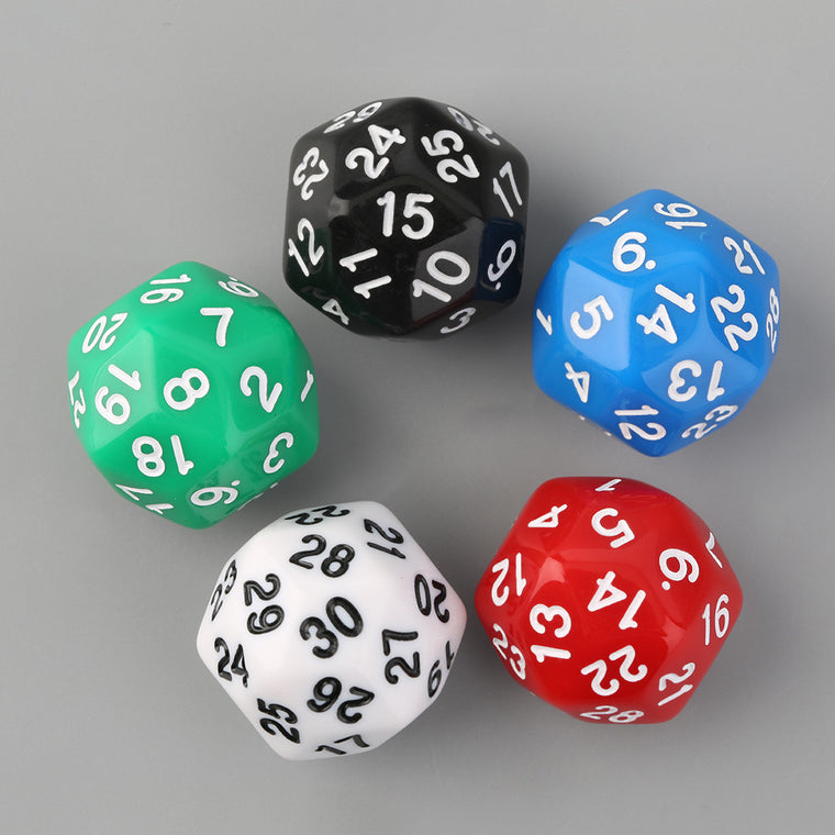 5pcs/Set Thirty-Sided D30 25mm Gaming Playing Games Dices Solid-Color Hot Selling