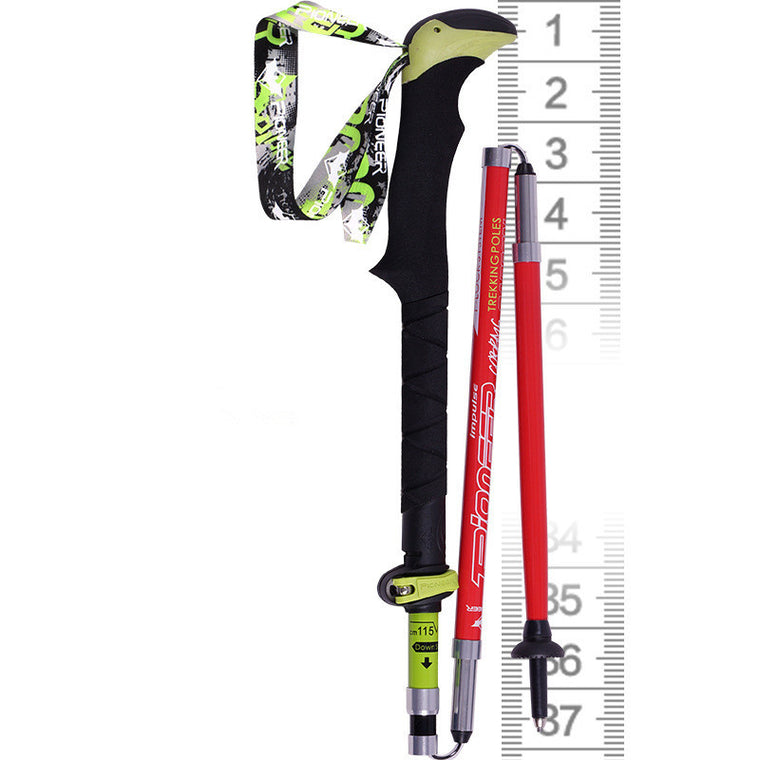 PIOMEER Outdoor Carbon Fiber Ultralight Folding Short Camping Trekking Hiking Climbing Stick Alpenstock Pole 37-135cm
