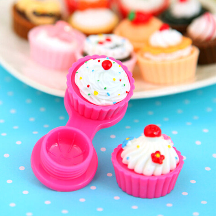 New 6 Colors Travel Cute Cartoon Cake Cream Shape Mini Contact Lens Box Case Holder Portable Free Shipping