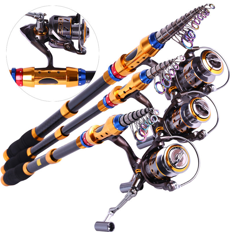 Spinning Telescopic Fishing Rod Set And Carp Fishing Reel 1.8m-3.6m Carbon Fishing Pole Sea Casting Fishing Rods
