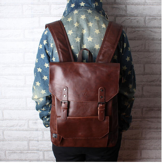 New men backpacks vintage leather backpack big size travel bag student casual laptop backpack school bags for teenagers girls