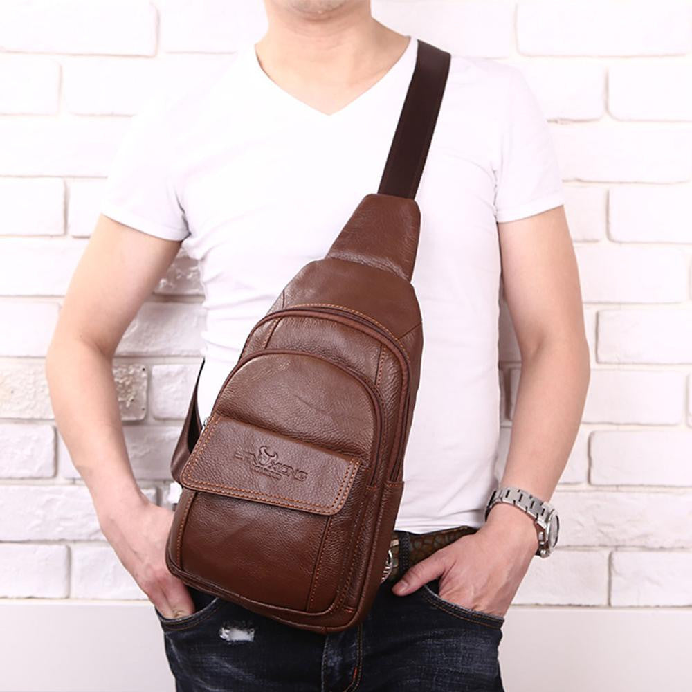 New Men Genuine Leather Cowhide Messenger Shoulder Cross Body Bag Travel Male Sling Chest Back Pack Day Pack