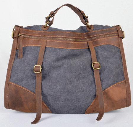 Vintage Retro military Canvas + Leather men travel bags luggage bag Men duffel bags Weekend Bag Overnight tote Handbag Fashion
