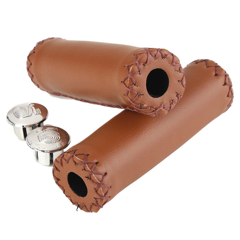 1 Pair Vintage Retro Artificial Leather Non Slip Cycling Riding MTB Road Mountain Bike Bicycle Handlebar Grip Ends Parts