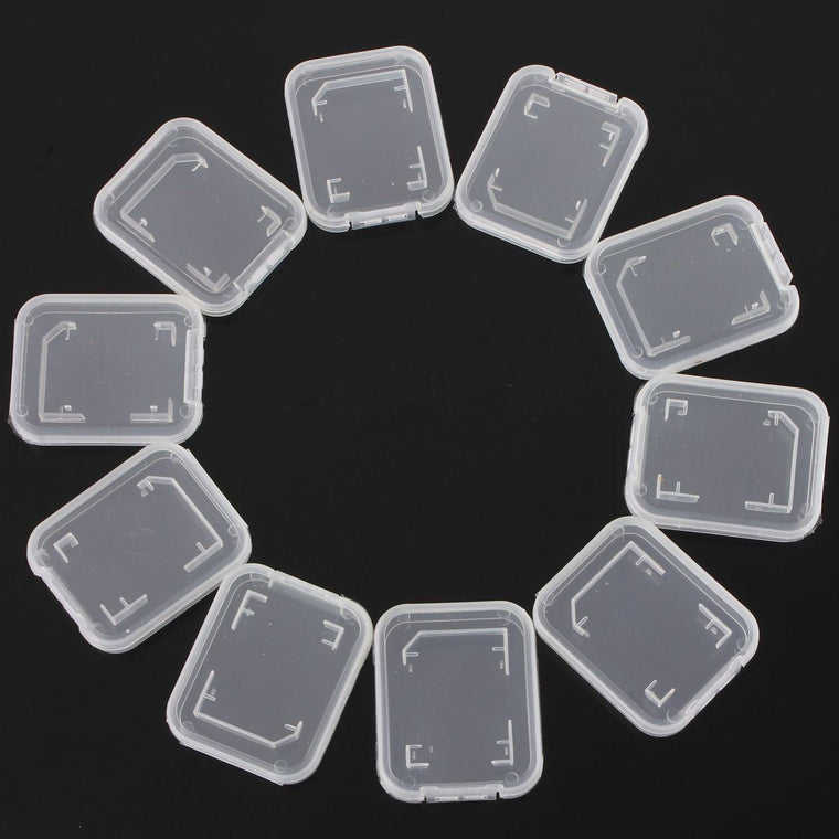 10PCS Transparent Standard SD SDHC Memory Card Case Holder Box Storage boxes New