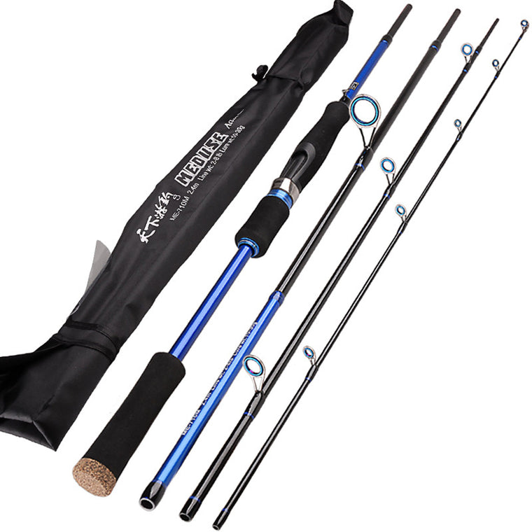 2.1 2.4 2.7m Lure Rod 4 Section Carbon Spinning Fishing Rod For Carp Fish Telescopic Fishing Pole Vava De Pesca