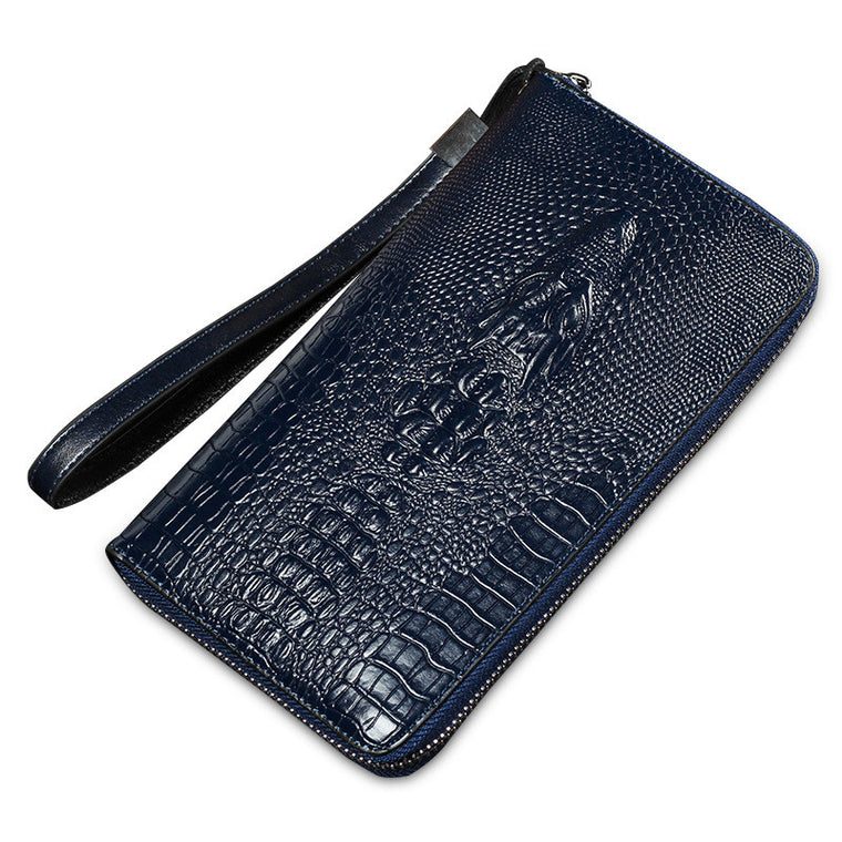 HENGSHENG Men crocodile Zipper long design Wallets Multifunction Purse Card Holder clutch Solid money bags brown dark blue black