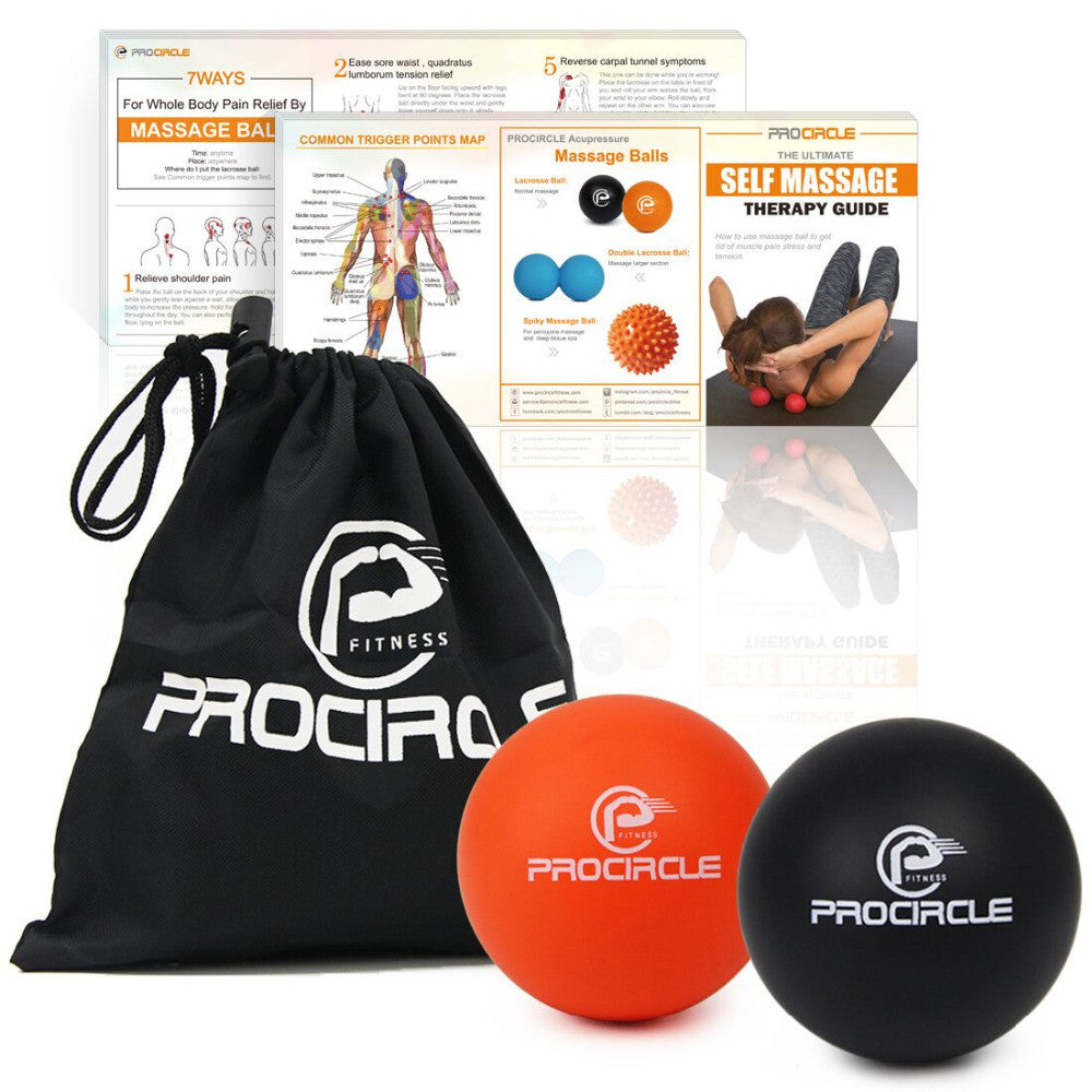 Lacrosse Balls Deep Tissue Massager, Safe & Effective to Relieve & Relax Myofascial, Foot, Chest & Back Muscles free bag