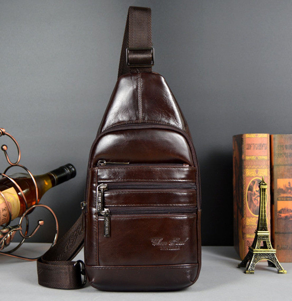 New Men Genuine leather Real First Layer Cowhide Travel Messenger Shoulder Sling Day Pack Chest Bag