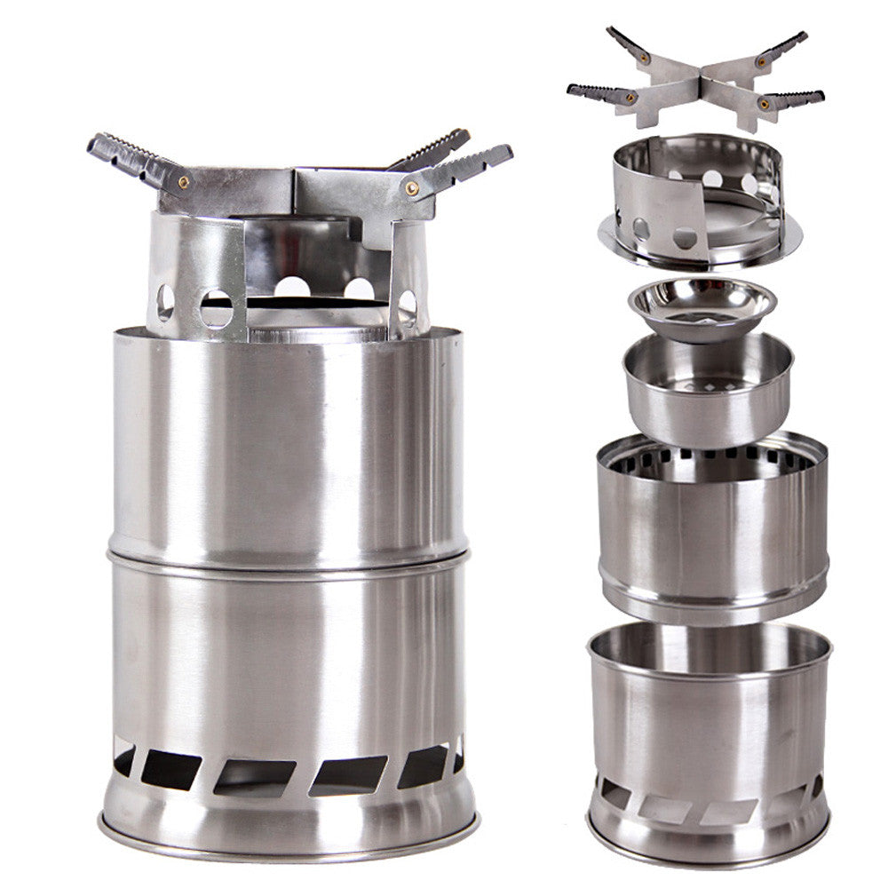 Outdoor Cooking Picnic BBQ Wood Stove Portable Lightweight Solidified Alcohol Stove Stainless Steel Camping Stove