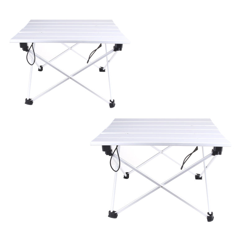 Portable Folding Aluminum Rolling Table with Bag for Camping Picnic FE5#