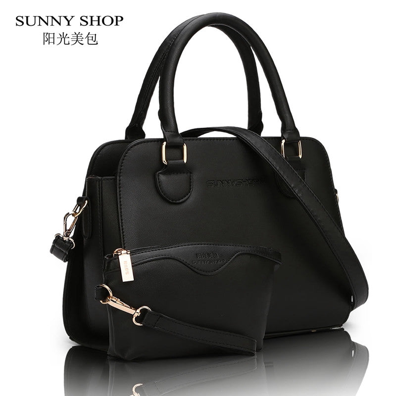 SUNNY SHOP 2 Bag/set European American Style Small Women Shoulder Bags High Quality  Leather Women Handbag and Purse For Girls