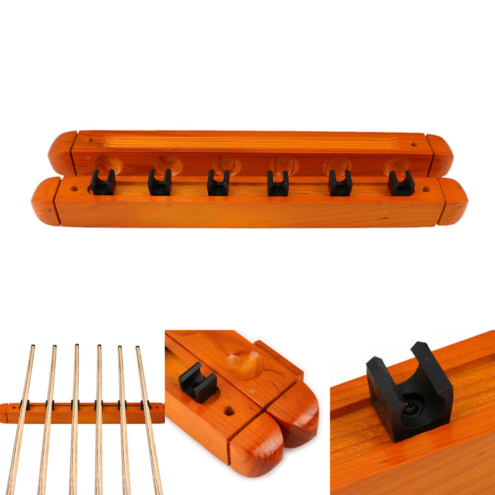1 Pair High Quality Billiard Pool Wall Mount Hanging 6 Cue Sticks Solid Wood Rack Professional and  Holder for Snooker