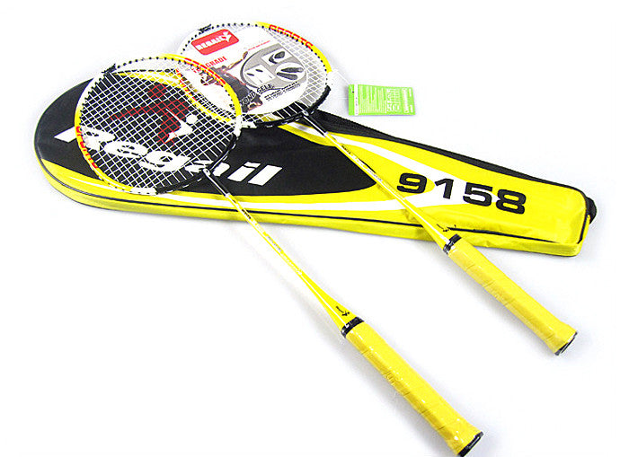 Regail 9158 Durable Speed Badminton Racket Battledore Racquet with Carry Bag for Couples Yellow Color 1 Pair
