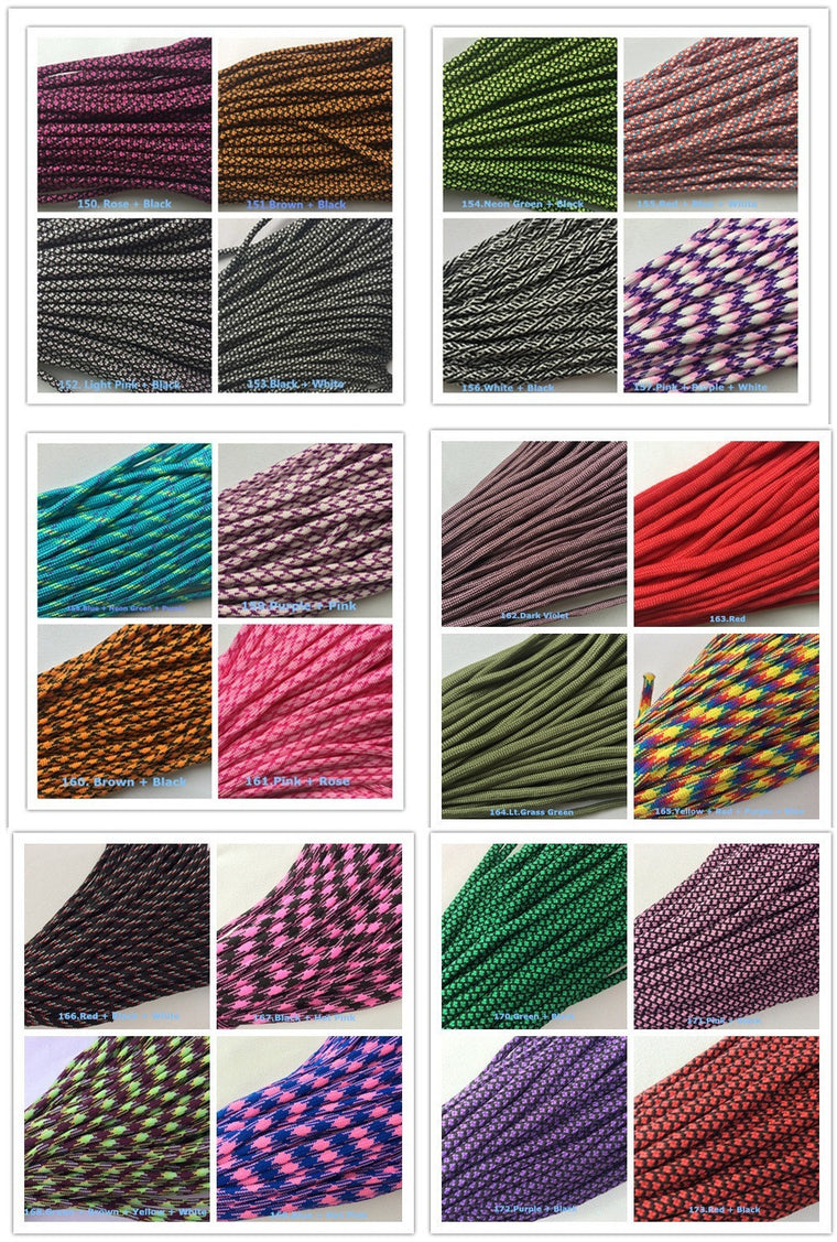 Free Buckles New 172 colors Paracord 550 Paracord Polyester Parachute Cord Lanyard Rope 7 Strand 100 FT Per color Per Bundle
