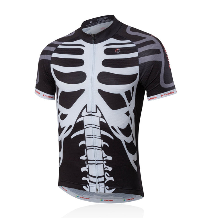 SAIL SUN Men Pro Cycling Jersey Top White Skull Bicycle Clothing mtb Summer Bike Shirts Cycling Jacket Breathable