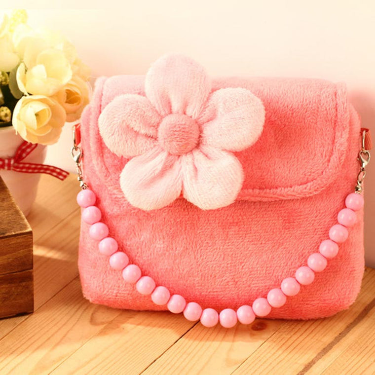 Lovely Stereoscopic Flowers Plush Messenger Small Bag Princess Package For Baby Girls Children Kindergarten Handbag Gift 30