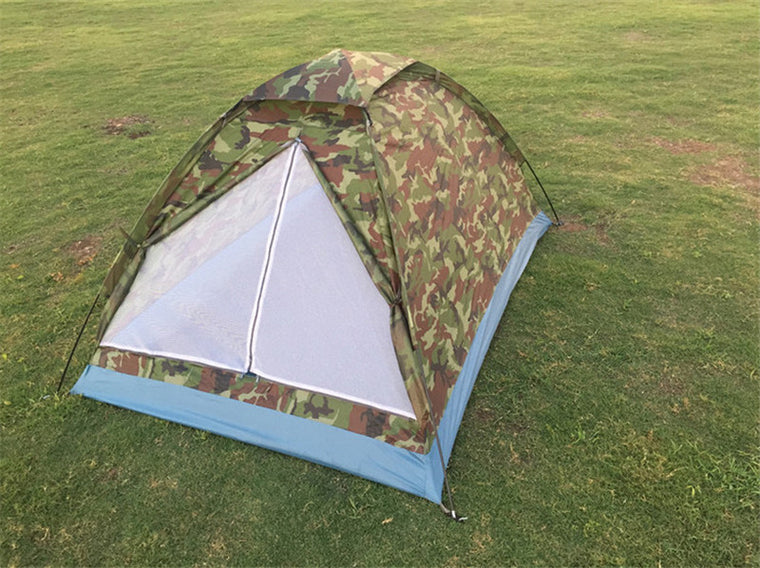 2M*1.3M Portable Single Layer Camping Tent Camouflage for 2 Person Waterproof PU1000mm Polyester Beach Tents Free shipping