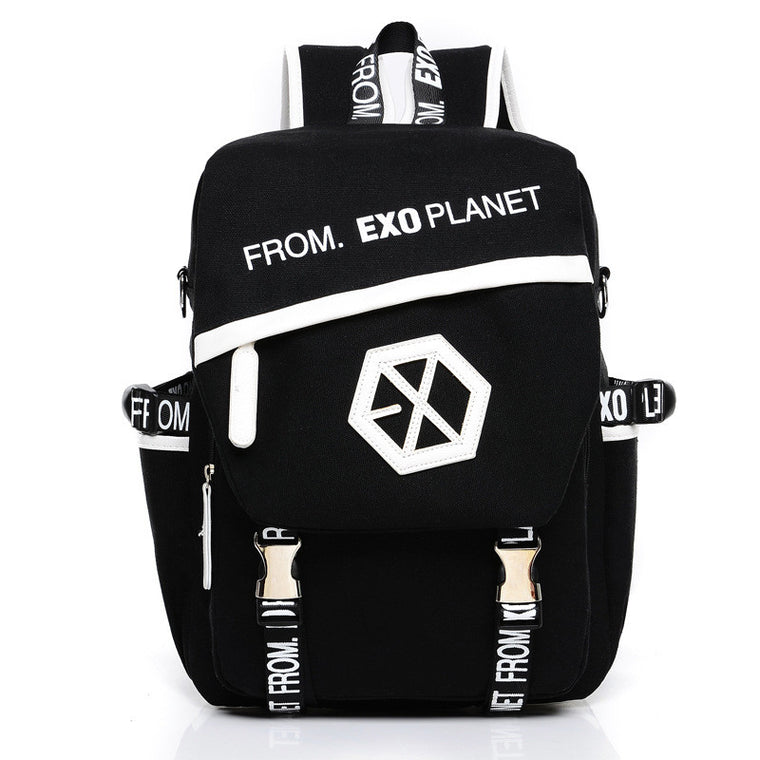 New Kpop EXO Canvas Backpack Sacks Women/Men Student School Bags For Girl boy Casual Travel EXO bags