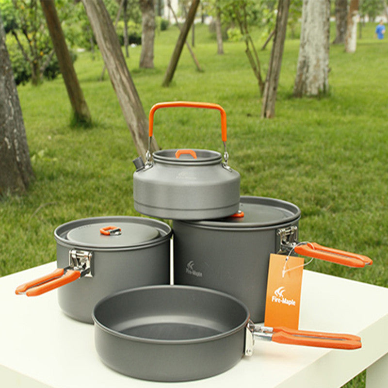 Fire Maple 4-5 Person Camping Pot Kettle Fry Pan Set Cooking Picnic Cookware Sets Hard Anodizing Aluminum 1014g Feast 4