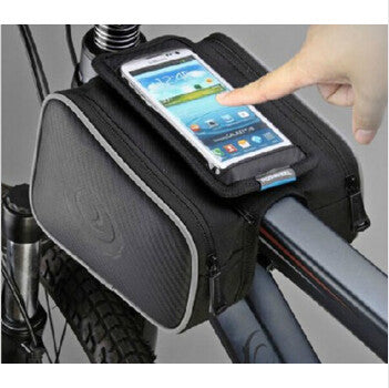 Roswheel Waterproof Cycling Bags Bike Front Frame Bag Tube Pannier Double Pouch for 5/5.5 inch Cellphone Touchscreen Bags