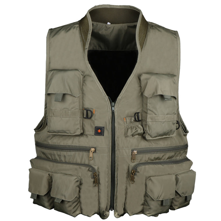 Pisfun New Fishing Vest Outdoor Hiking Hunting Multi Pocket Vest Waistcoat Men Fishing Jackets Army Green L XL XXL