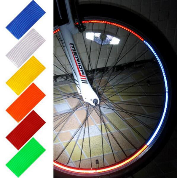 Fluorescent Cycling Wheel Tire Stickers Motorcycle MTB Mountain Road Bike Bicycle Reflective Stickers Strip Decal Tape