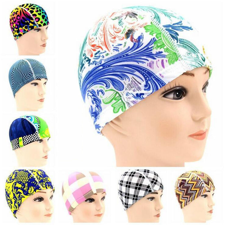 Multi Printings Lycra Fabric Bath Shower Protect Ears Swim Pool Water Diving Surf Swimming Cap Hats Accessories for Men Women