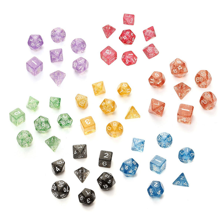 7Pcs/set Glitter Shine TRPG Game Dices For Dungeons & Dragons D4-D20 Multi Sides Dice 4/6/8/10/12/20 SIde Desk Games Accessory
