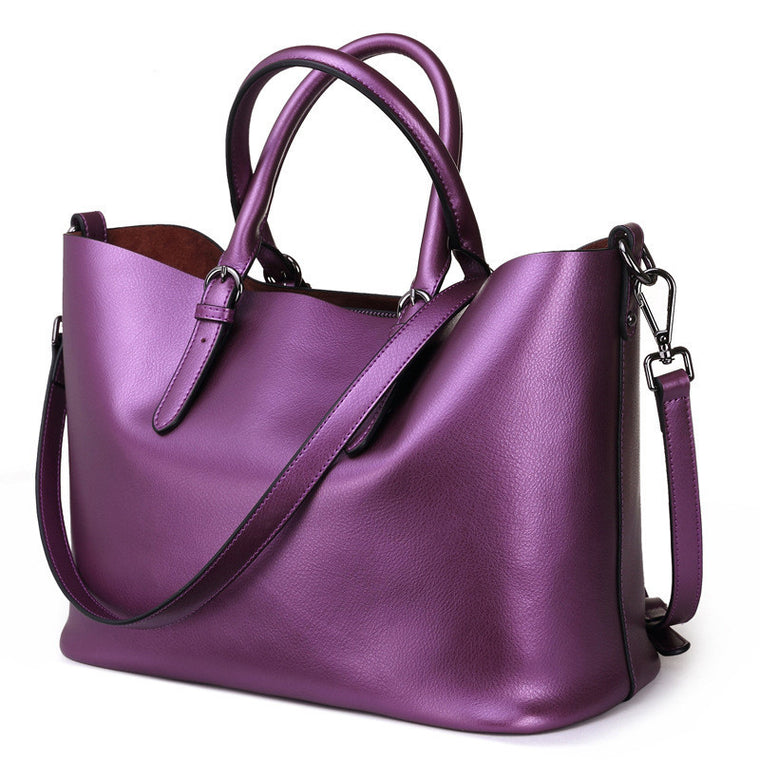 Women Handbag Genuine Leather Shoulder Bag Female Bags Cowhide Portable Shopping Bag Vintage Large Capacity Tote Bolsos Purple
