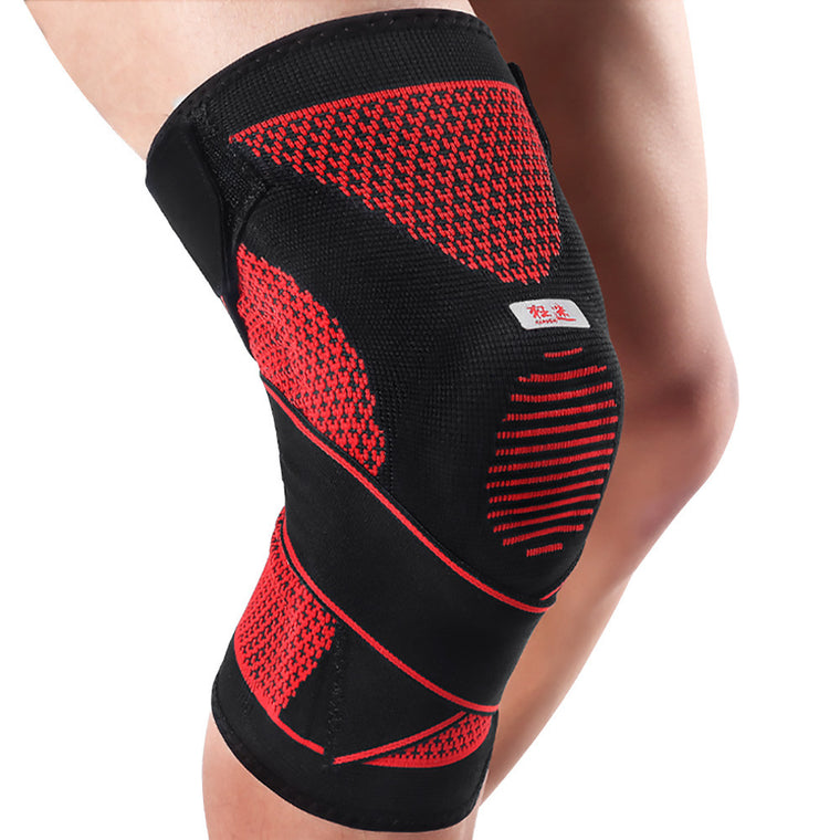 Compression Knee Sleeve Support Sports Silicone Knee Pads Basketball Adjustable Bandage Spring Brace Patella Protector