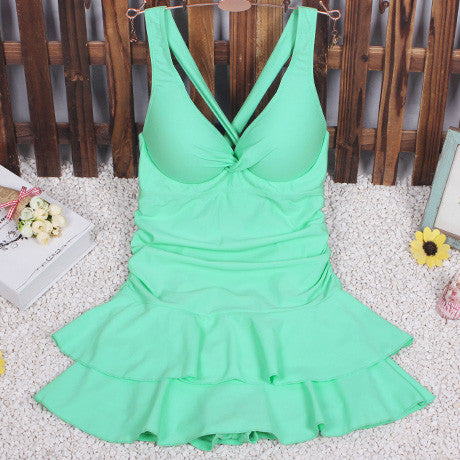 New Women Swimsuit Solid Push Up Skirted Bathing Suit Padded One Piece Strappy Ruched Beach Dress Sexy Ladies Swimwear