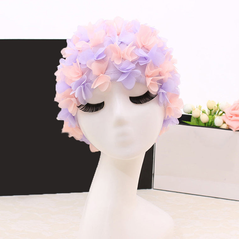 Swim Pool Swimming Cap Hat Free size for Women Petals Bathing Cap